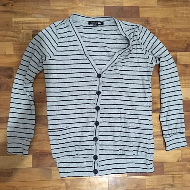 Forever 21 Gray Striped Cardigan