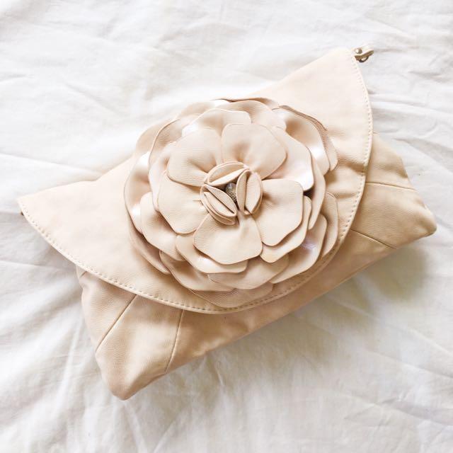 FOREVER NEW PINK FLOWER SATCHEL/CLUTCH BAG