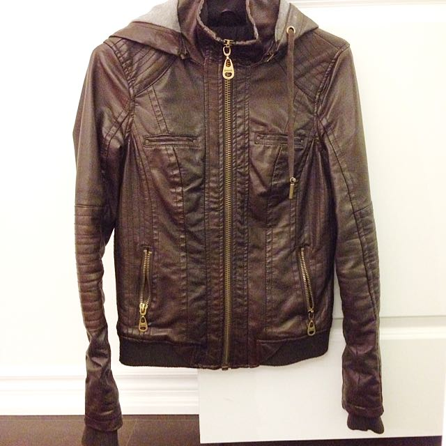 GARAGE Perfect Faux Leather Bomber Jacket
