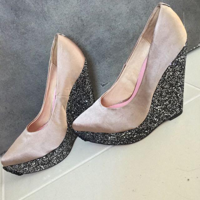 Glitz And Glam Champagne Glitter Wedge Heels