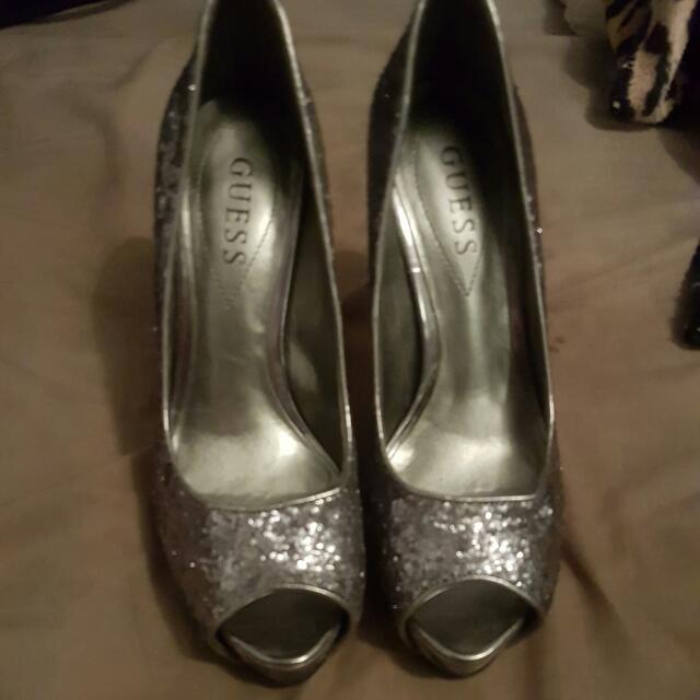 Guess Silver Sequin Heels