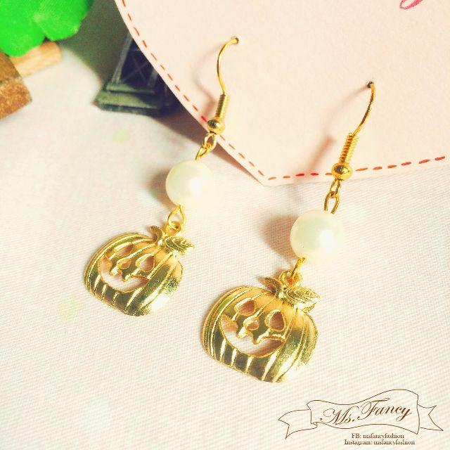萬聖節Halloween限定日本原宿系少女可愛金屬南瓜造型手作耳環