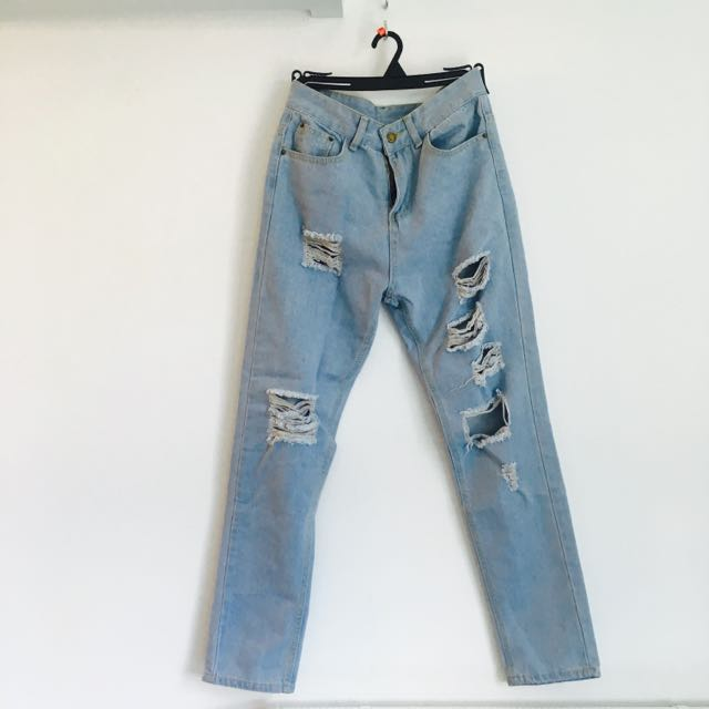 High Waist Ripped Denim S