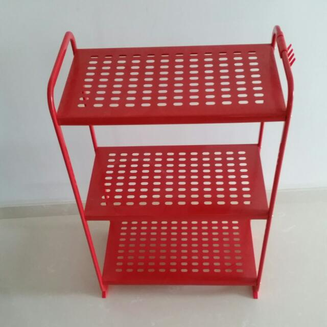 *Reserved* Ikea Red Metal Shelf