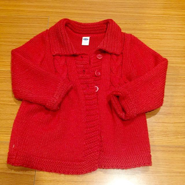 九成新❤️navy Old 紅色針織外套 18-24m