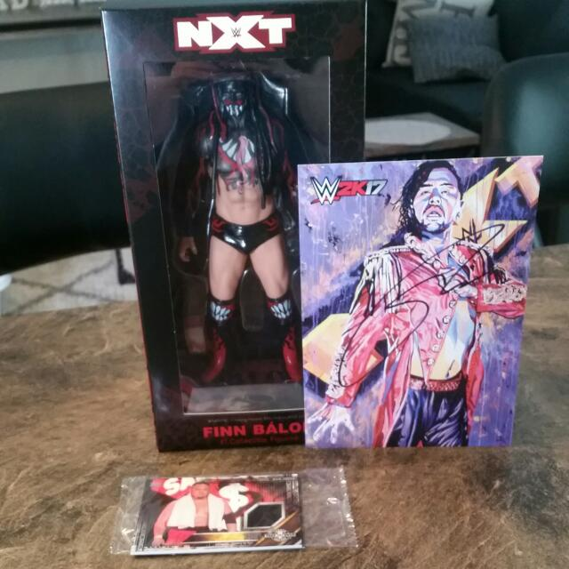 Nxt Action Figure Of Finn Balor  Signed Autograph Photo Of Nakamura Of Nxt And Nxt Packaged Trading Cards In  Original Packaging