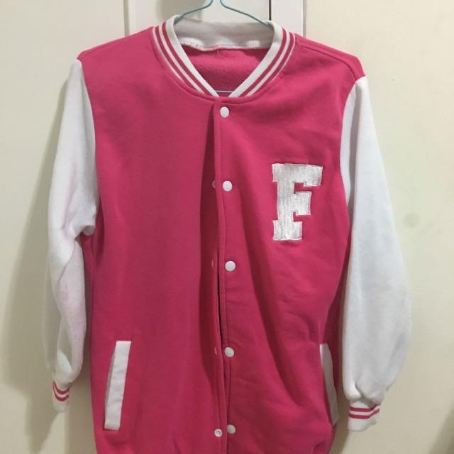 Pink F Varsity Jacket