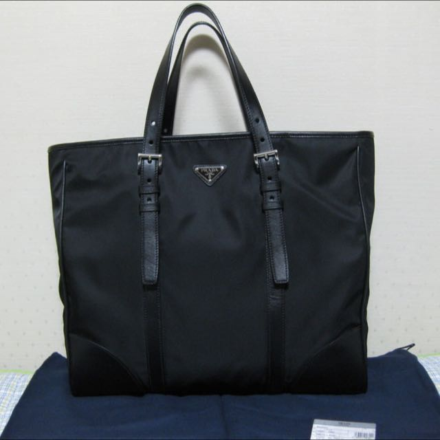 df77525e7a9b Authentic Prada VA0663 Nylon Tessuto Shopping Tote Bag Black Men Bag ...