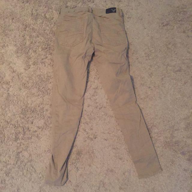 AE kaki skinny jeans