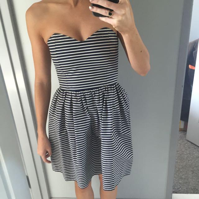 Strapless Stripe Prom Dress