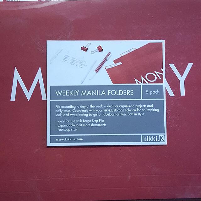 Weekly Manila Folders By Kikki K