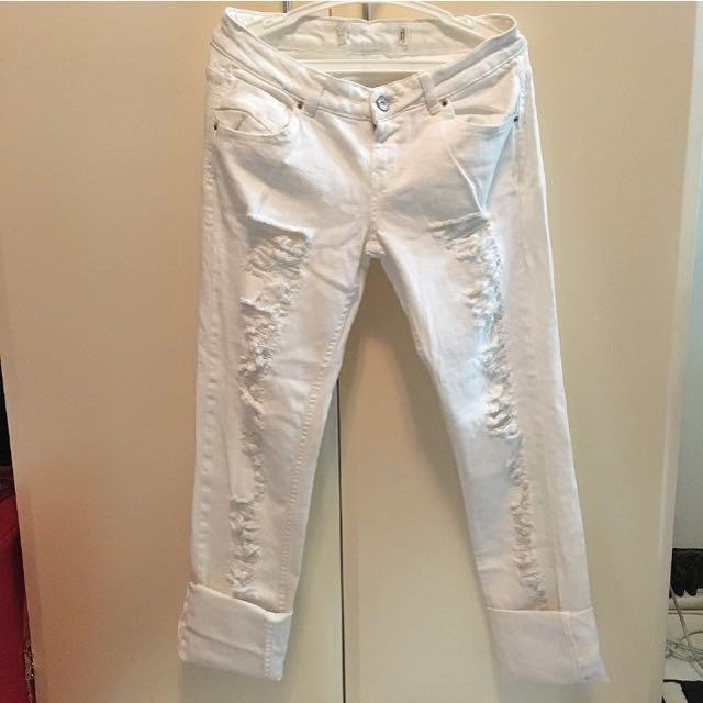 Zara TRF White Ripped Jeans