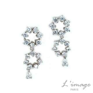 【L'image】PARIS 滿鑽星空閃耀純銀耳環(夾式)