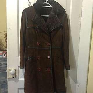 Women's Suede Peacoat Trench Coat Jacket