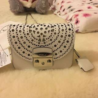 Authentic Special Edition Furla Metropolis Crossbody Chalk