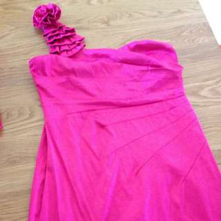Hot Pink One Shoulder TEMT Dress Size 12