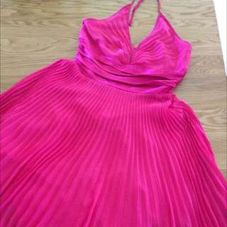 Hot Pink Halter Neck Midi Dress 14