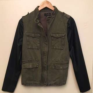 Army Jacket w/Leather Sleeves