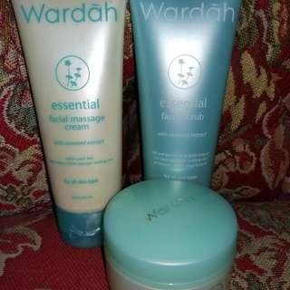 Wardah Facial Scrub, Facial Massage Cream, Dan Intensive Night Cream