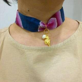 Batik Choker Mutiara  Necklace
