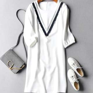 White Dress With Front Details