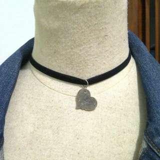 Chocker Black Velvet Heart Pendant Necklace