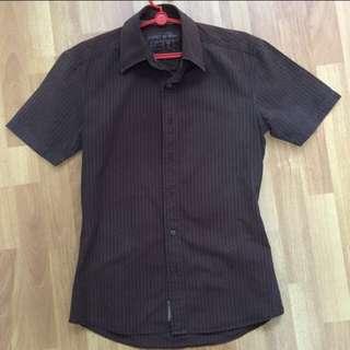 Esprit Brown Short Sleeve Buttoned Shirt