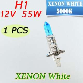 H1 XENON WHITE HEADLIGHT/ FOG LIGHT BULB  **55W WHITE BULB **5000 K  **DIRECT REPLACEMENT **SUITABLE FOR CAR / VAN / MOTORCYCLE   IN STOCK ( AVAILABLE)