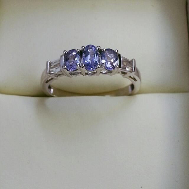 10K White Gold Ring with White Sapphires and Tanzanite