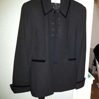Black Jacket And Skirt Set