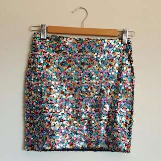 Multicolour Sequin Tube Skirt Size xs