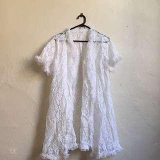 Floral White Nylon Shawl