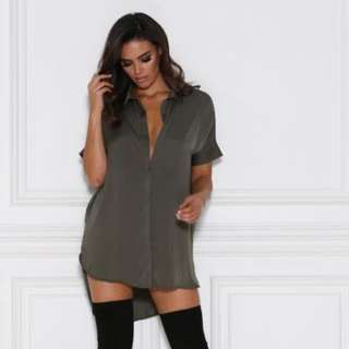 "Meshki Boutique ""Andrea"" Satin Shirt Dress"