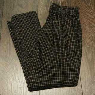 Queen shop 格紋鬆緊休閒長褲(含運)