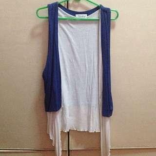 Blue-White Sleeveless Cardigan
