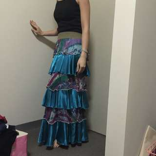Layered Long Skirt Turquoise