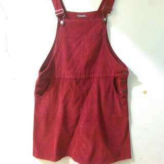 Overall Jeans Maroon