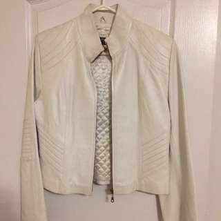 Brand New Women's White Leather Jacket