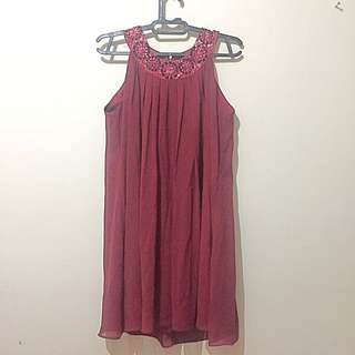 Dress Merah Maroon
