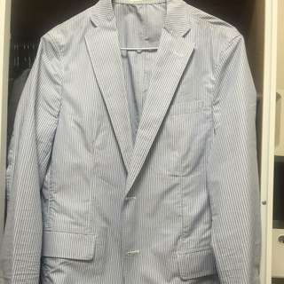 UNIQLO藍白直條紋休閒西裝外套S號