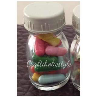 20 Pcs Pure Colored Message Capsule With Bottle