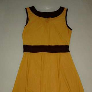 Brown And Yellow Office Dress