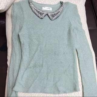 🎀特價🎀正韓氣質公主湖水綠針織長袖上衣