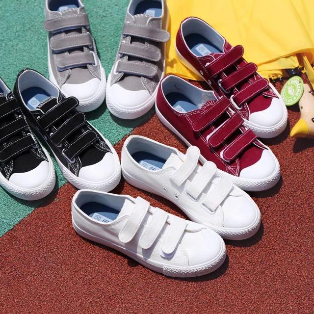 韓國魔鬼氈休閒帆布鞋