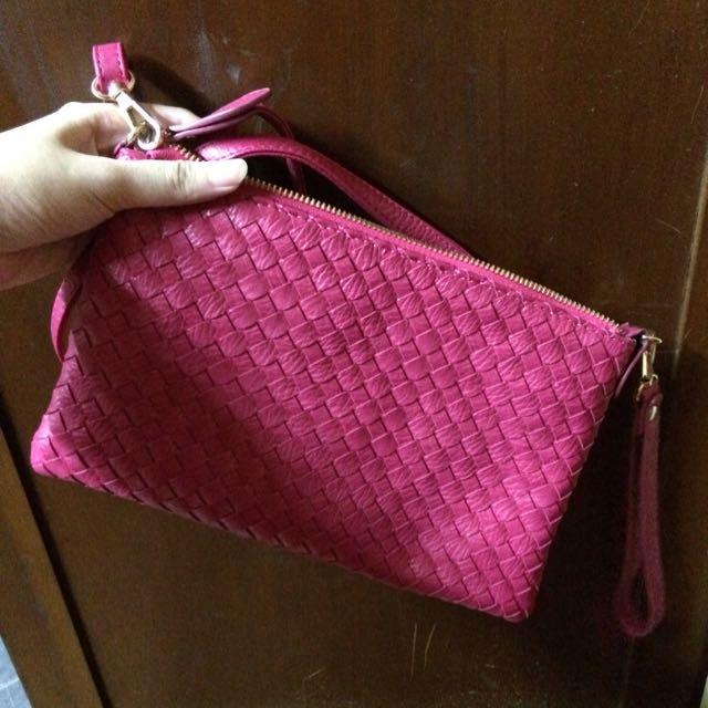 📢桃紅色編織包