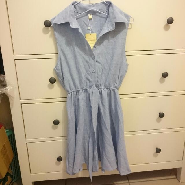 學生小清新翻領短裙收腰蝴蝶結格紋甜美連身裙