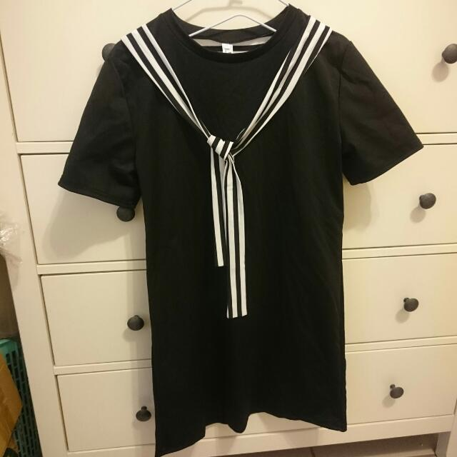 寬鬆短袖學院風系帶連身裙