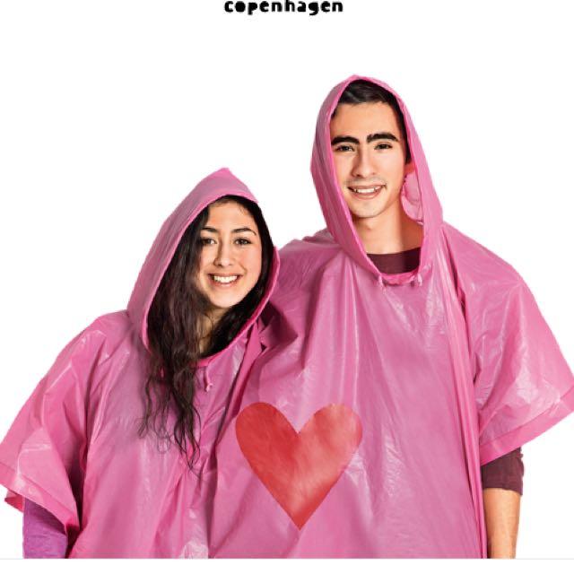 全新*北歐丹麥創意小物 雙人/情人愛心雨衣