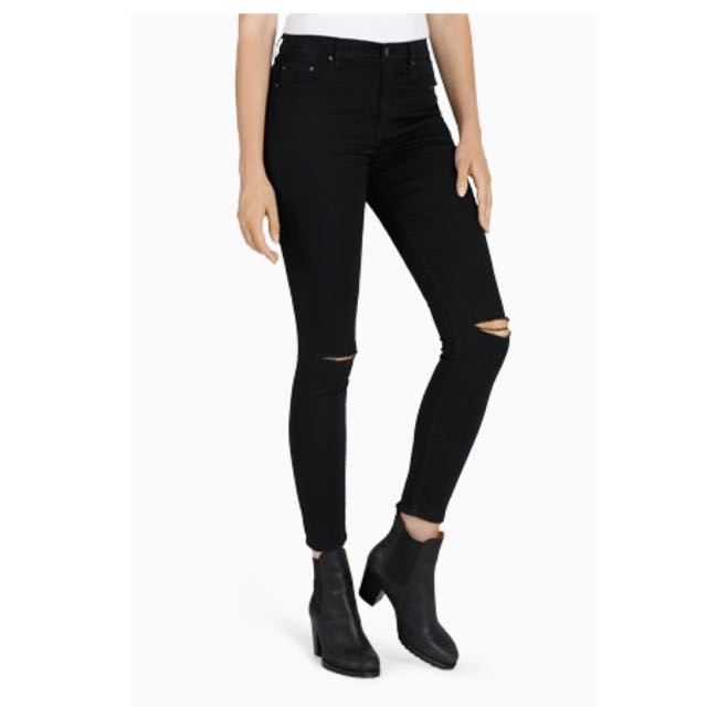 All About Eve - Evie Mid Skinny Black Pants With Slits Size 8