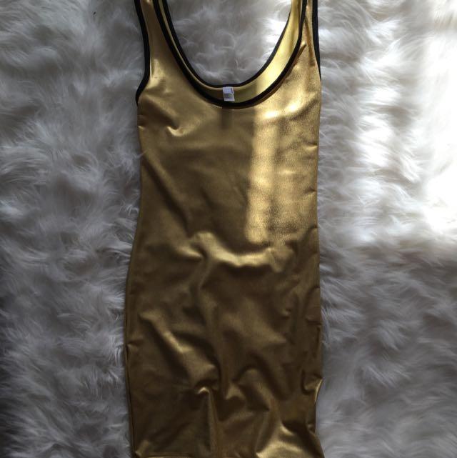 American Apparel Gold Metallic Bodycon
